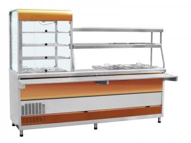 Прилавок-витрина холодильный мармитный универсальный ПВХМ-70КМУ цвет