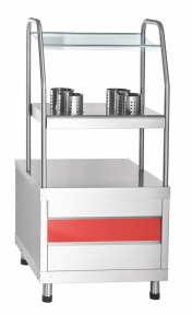 Прилавок для столовых приборов ПСПХ-70КМ (хлебница+4 стакана)