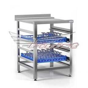 Стол приемный сварной для посудомоечной машины, столешница с направляющими