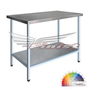 Стол производственный сварной СПЭ с бортом (полка сплошная, сталь с полимерно-порошковым покрытием)