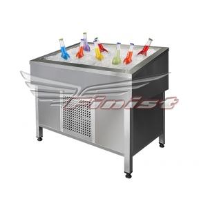 Витрина для выкладки соков и фруктов на льду с принудительных охлаждением